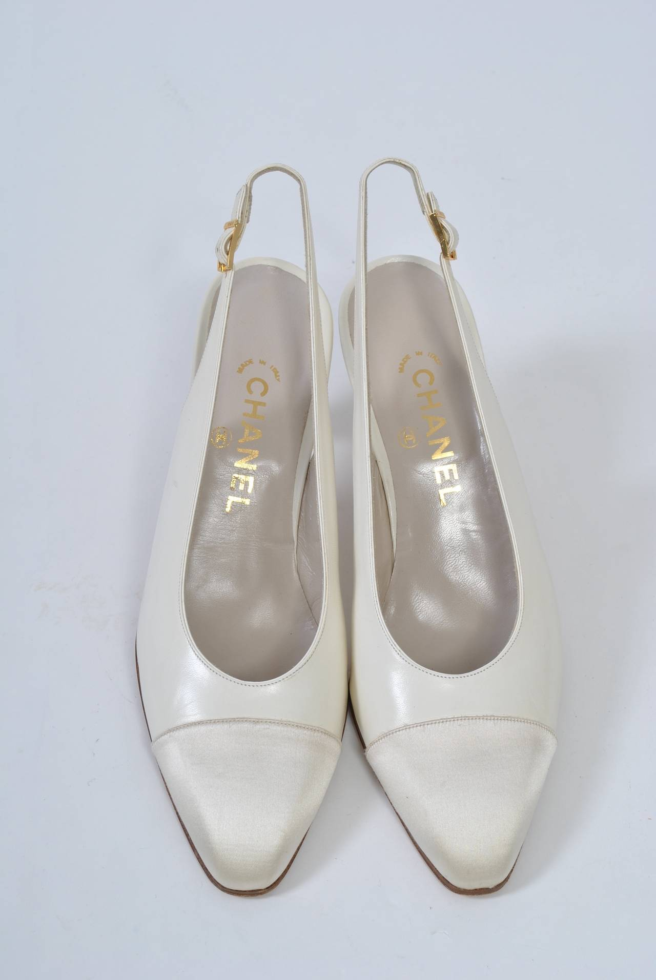 Chanel Satin Toe Slingbacks 5