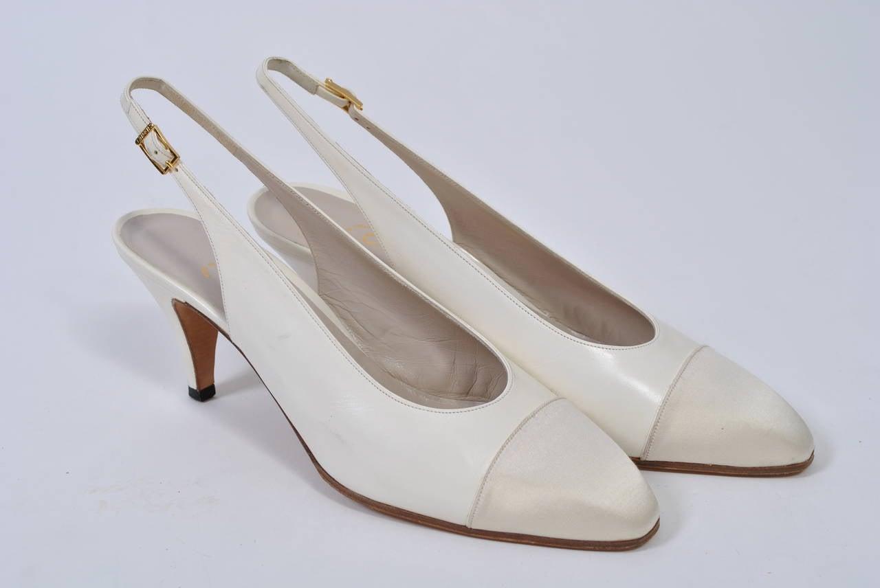 Chanel Satin Toe Slingbacks 6