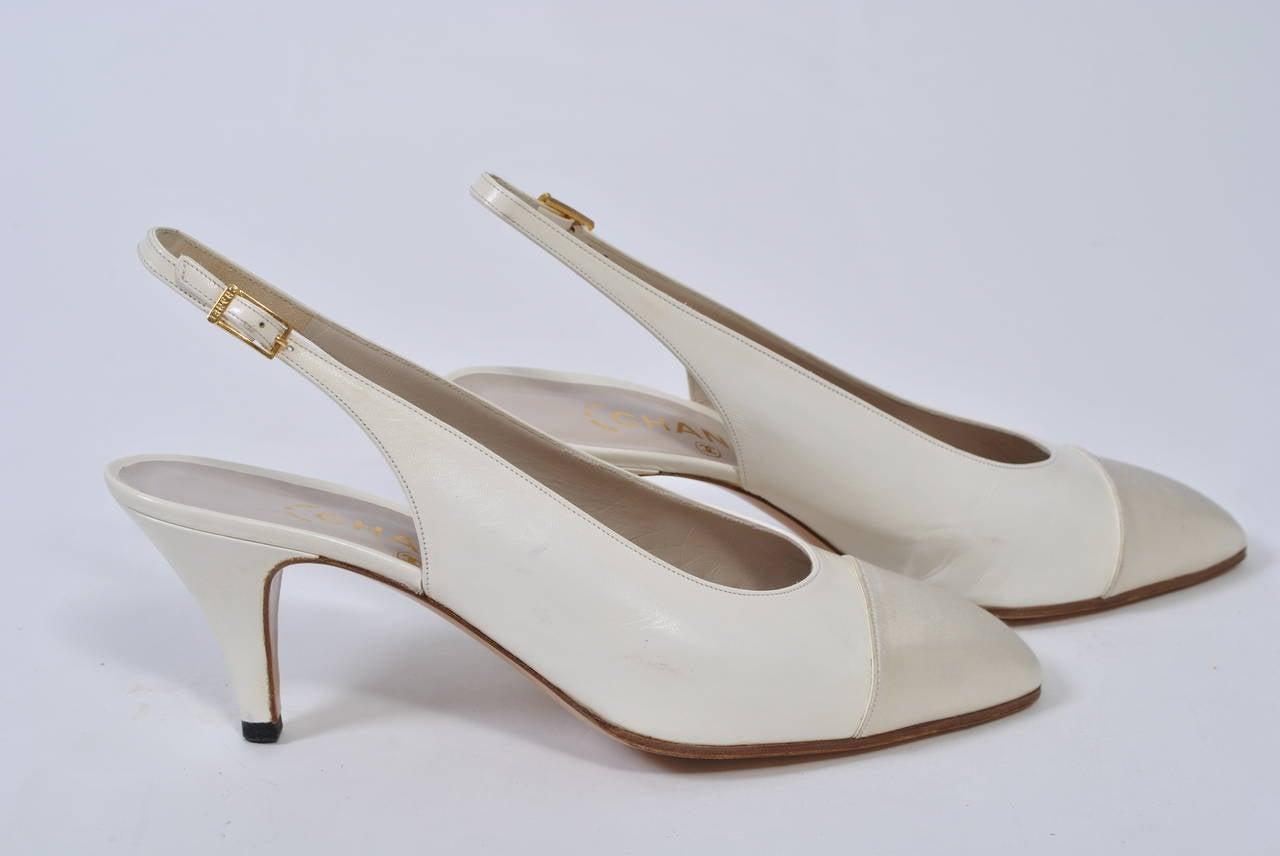 Chanel Satin Toe Slingbacks 3