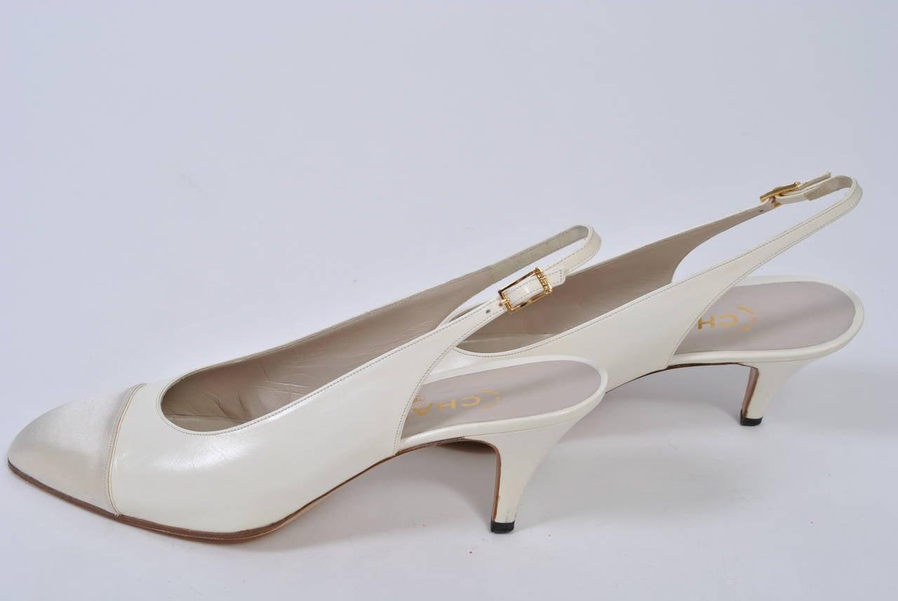 Chanel Satin Toe Slingbacks 4
