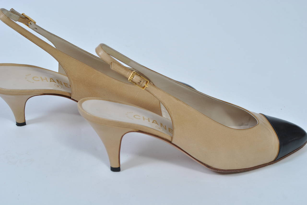 Chanel Classic Slingbacks In Excellent Condition For Sale In Alford, MA