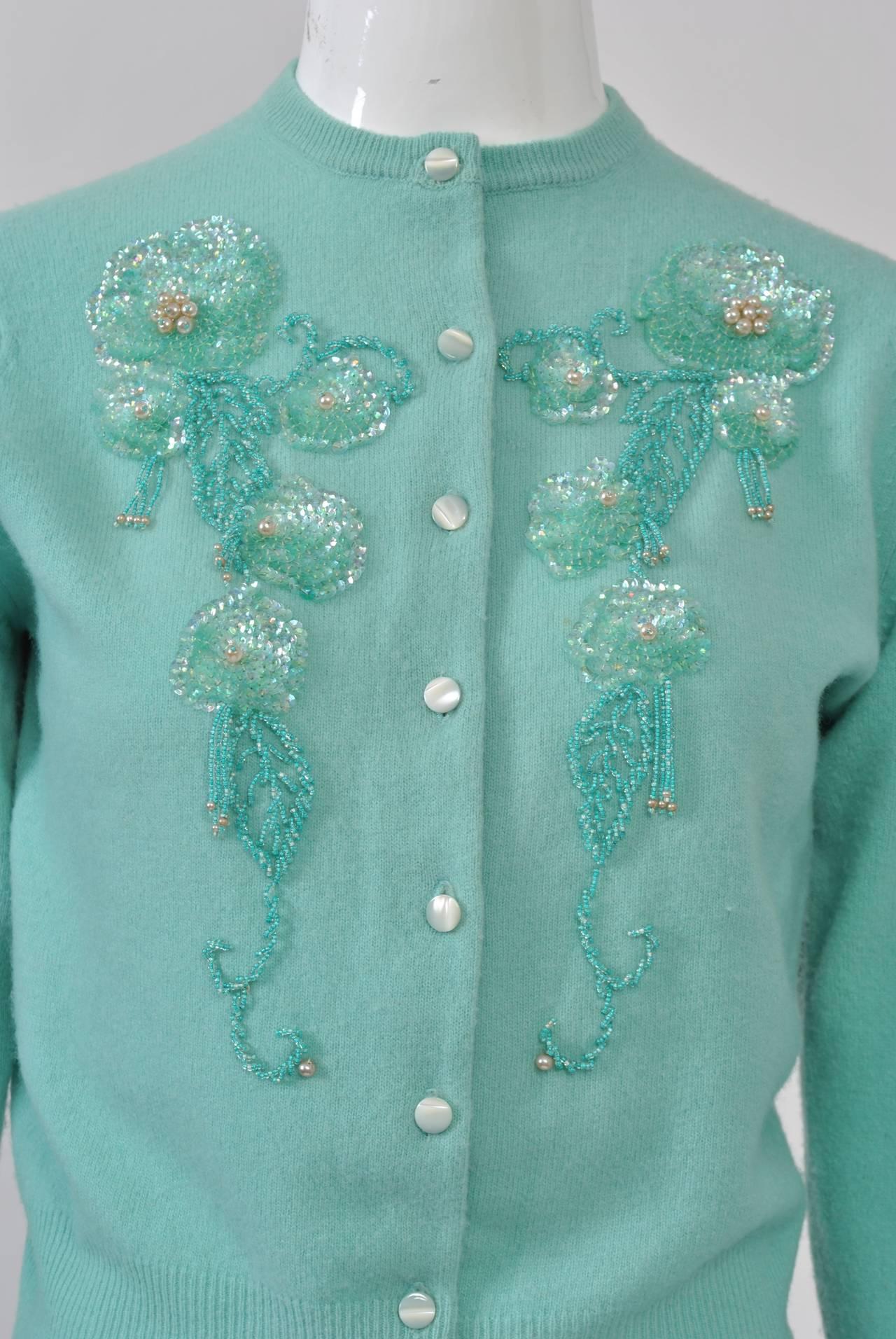Blue Aqua Beaded Cardigan For Sale