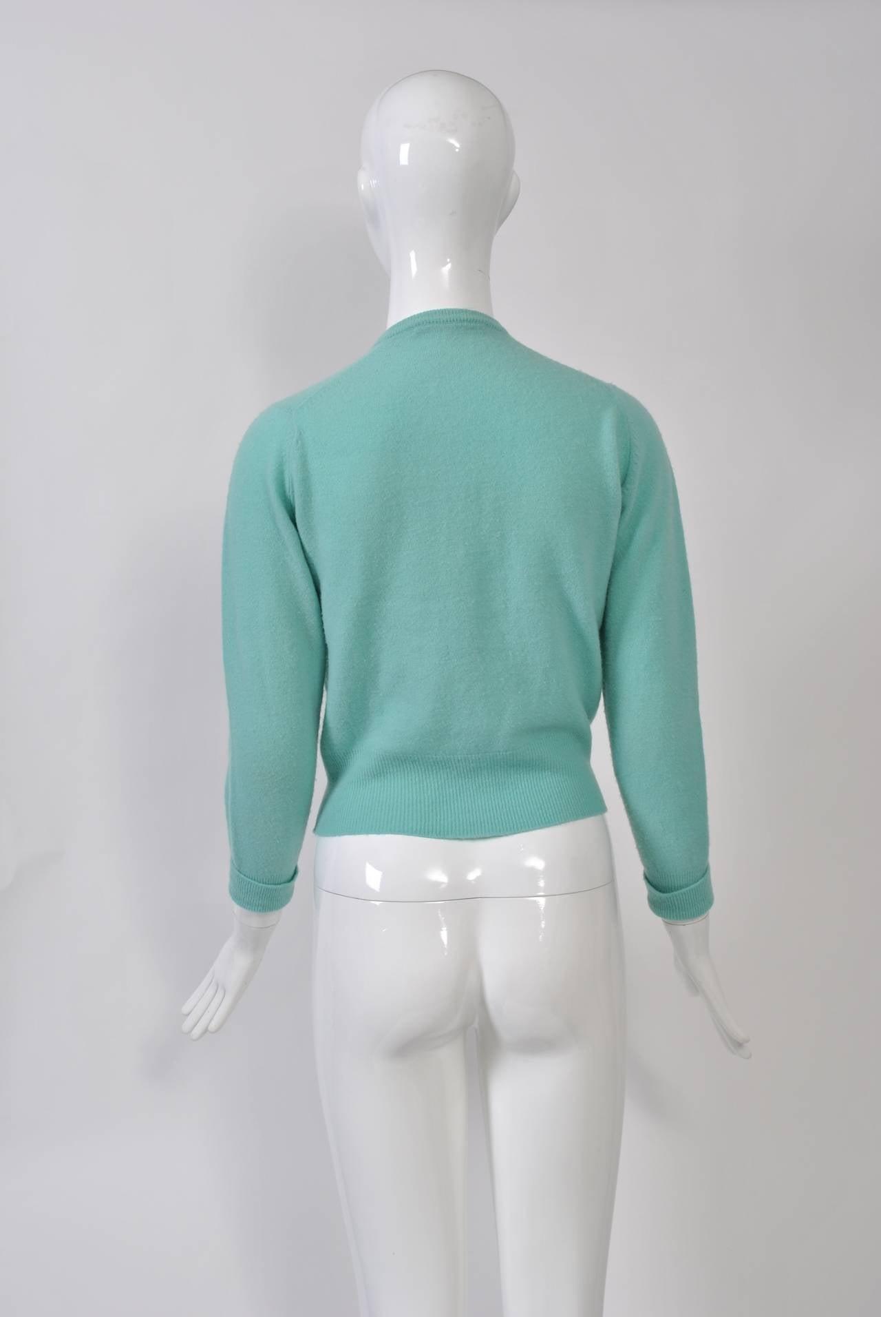 Women's Aqua Beaded Cardigan For Sale
