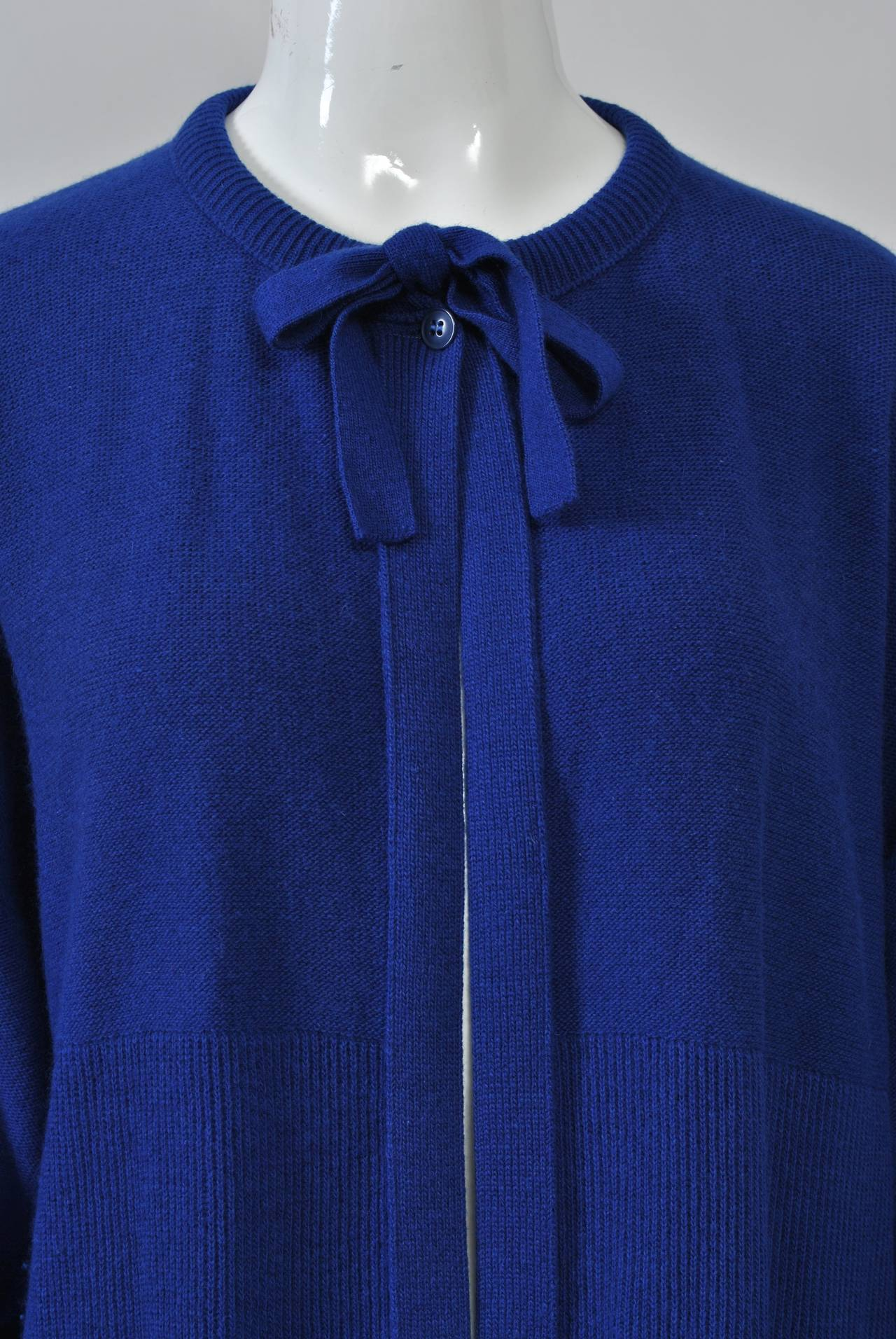 Sonia Rykiel Blue Sweater Coat In Excellent Condition For Sale In Alford, MA