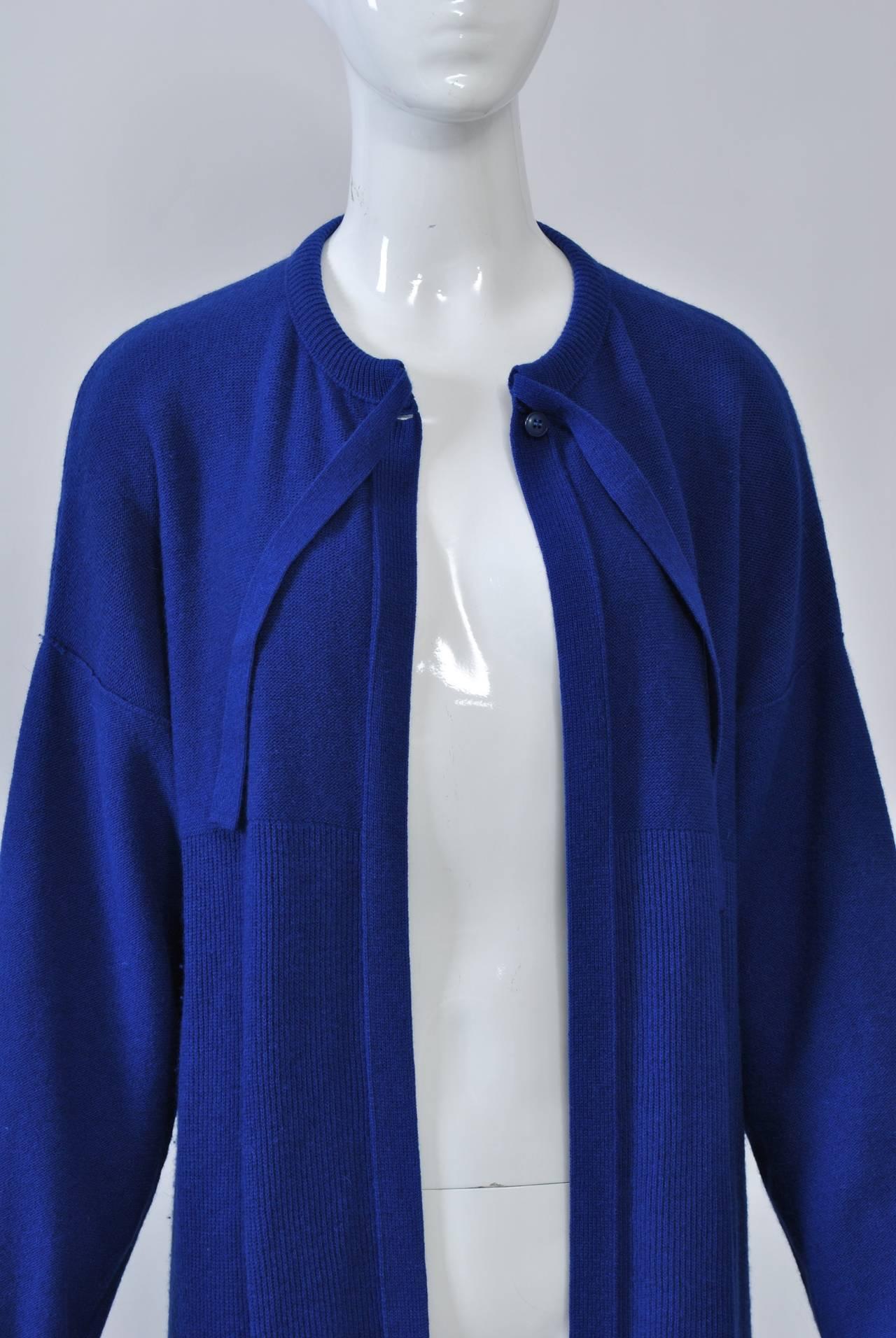 Sonia Rykiel Blue Sweater Coat For Sale 1