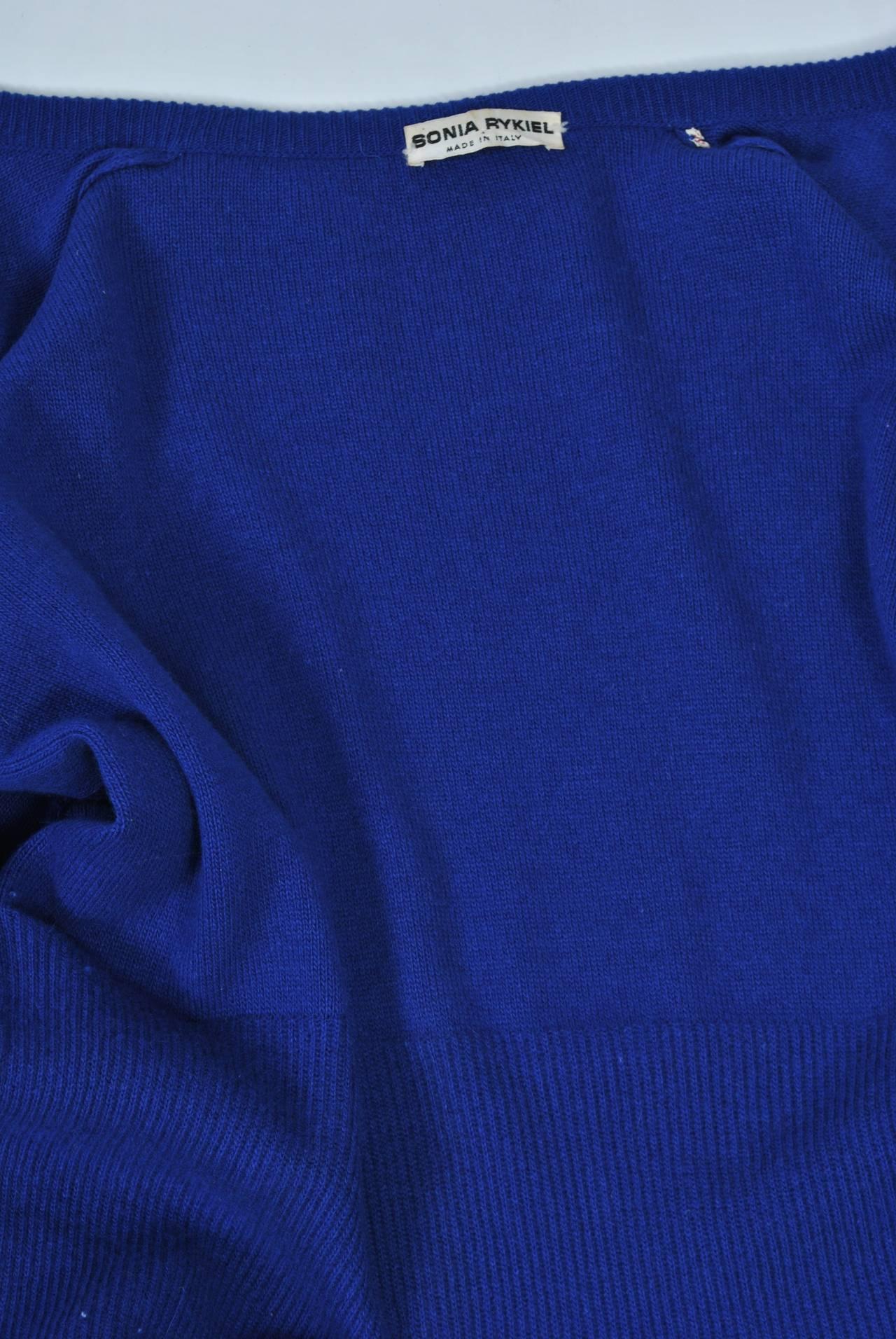 Sonia Rykiel Blue Sweater Coat For Sale 2