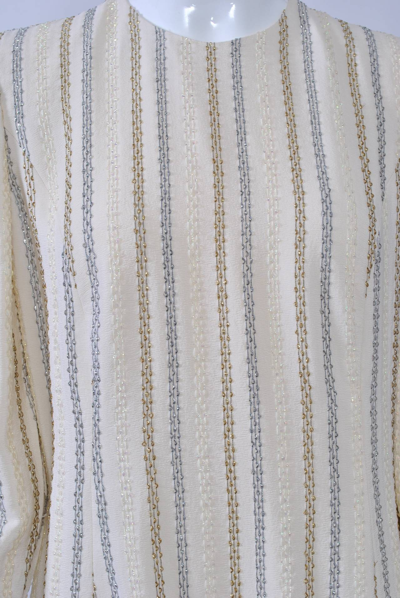 Carolina Herrera Ivory and Metallic Dress 5