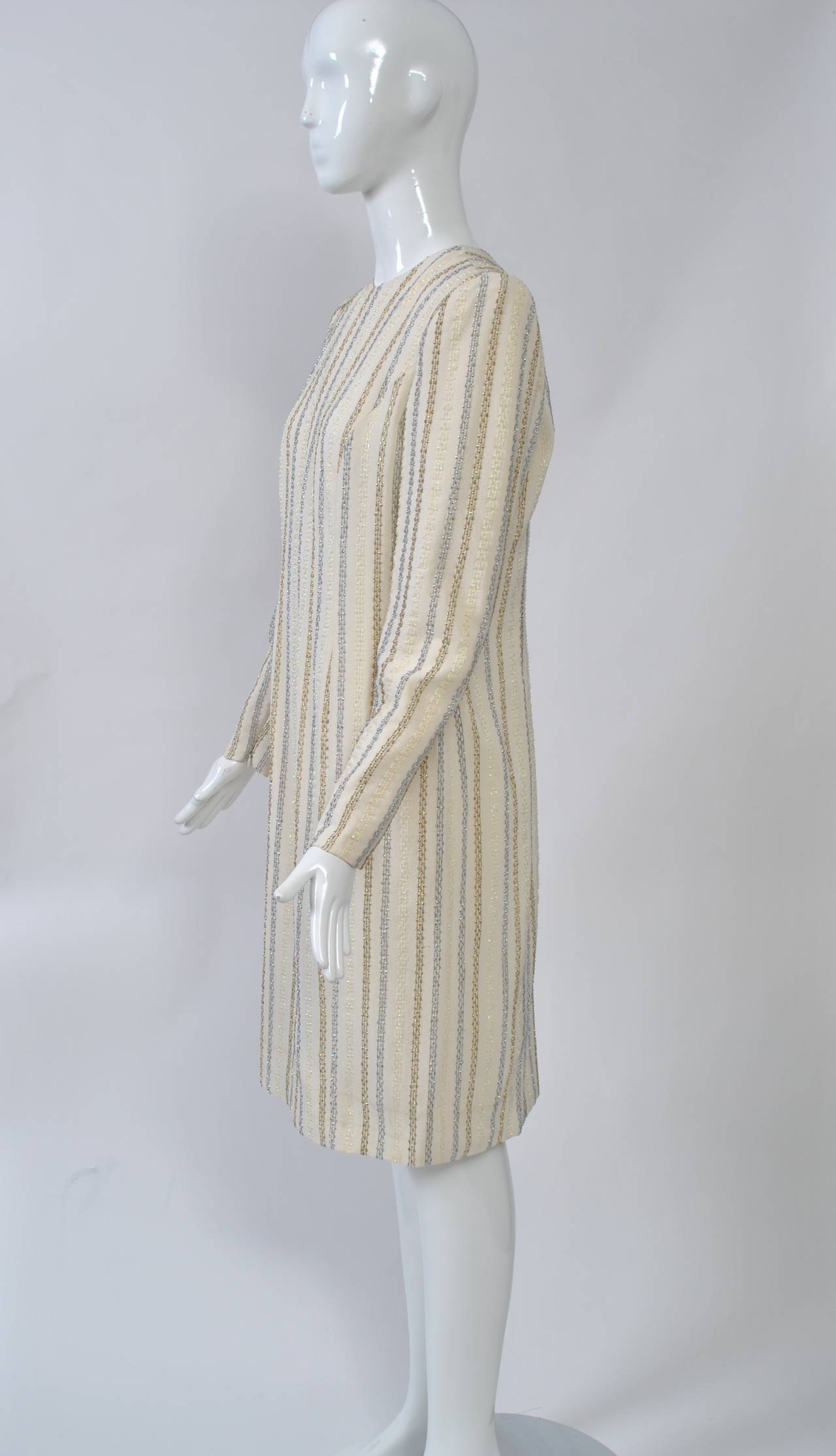 Gray Carolina Herrera Ivory and Metallic Dress For Sale