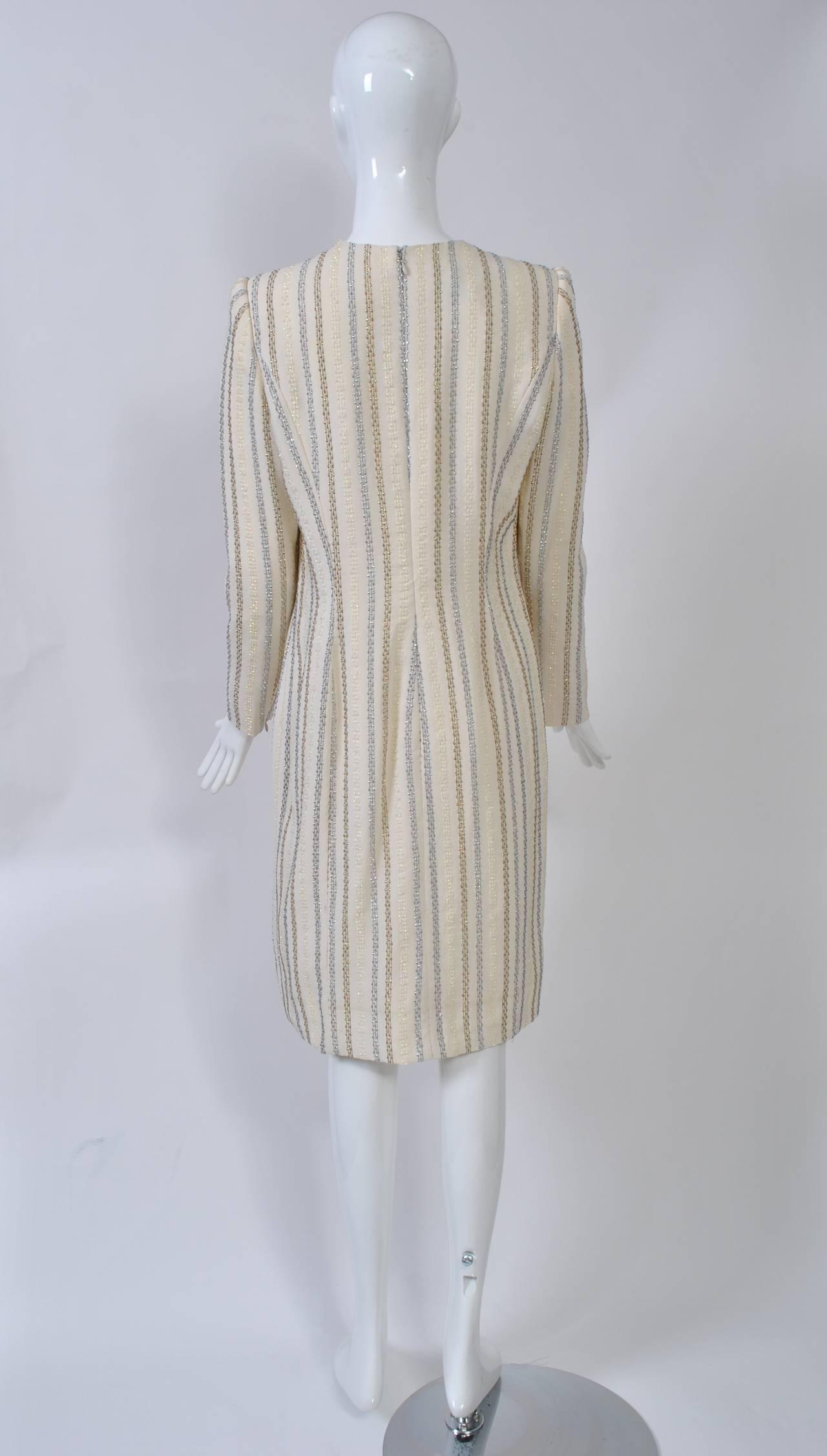 Carolina Herrera Ivory and Metallic Dress 4