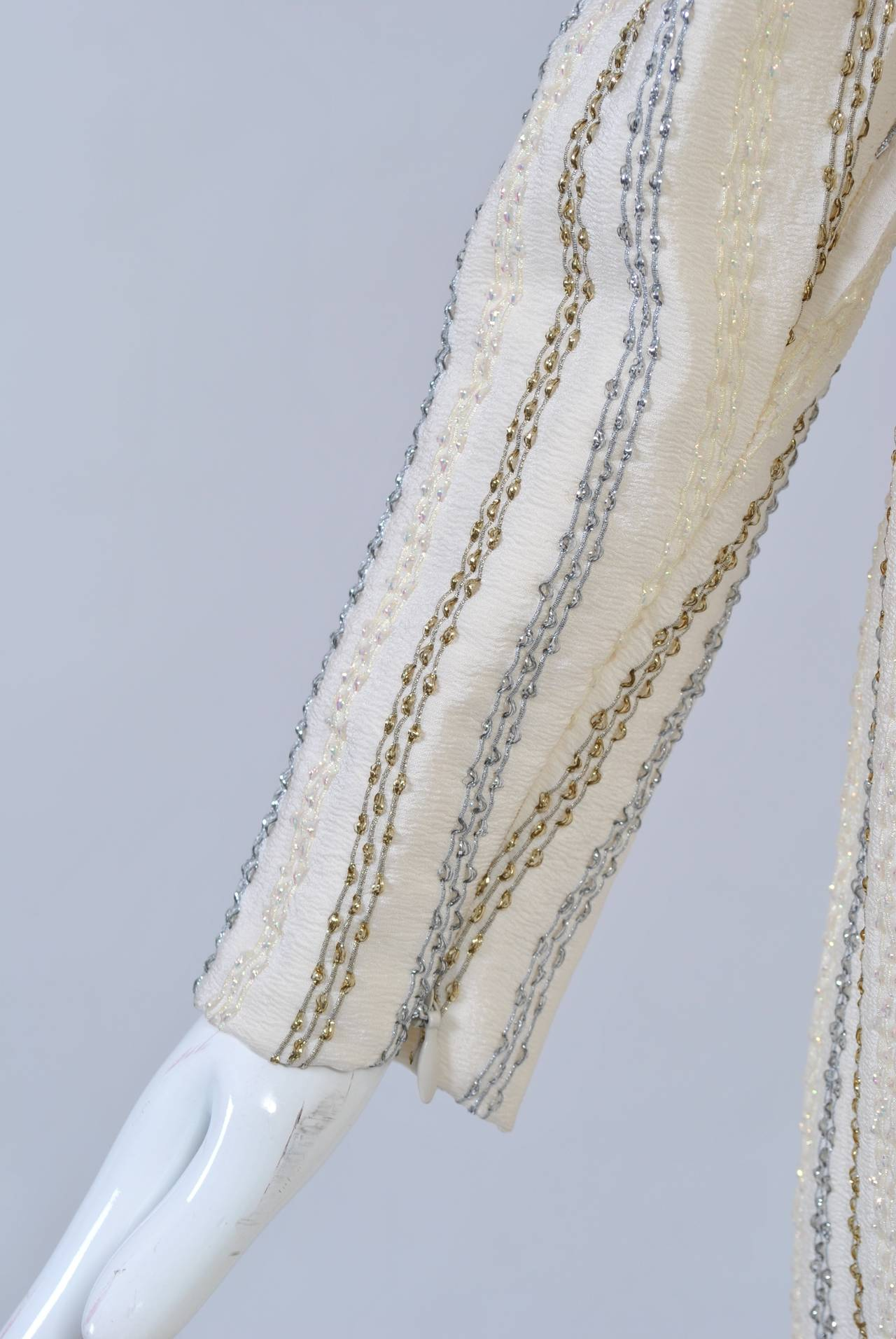 Carolina Herrera Ivory and Metallic Dress 6