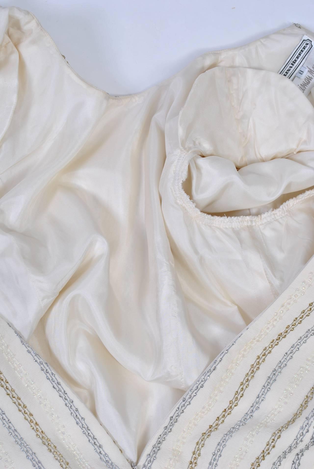 Carolina Herrera Ivory and Metallic Dress 2