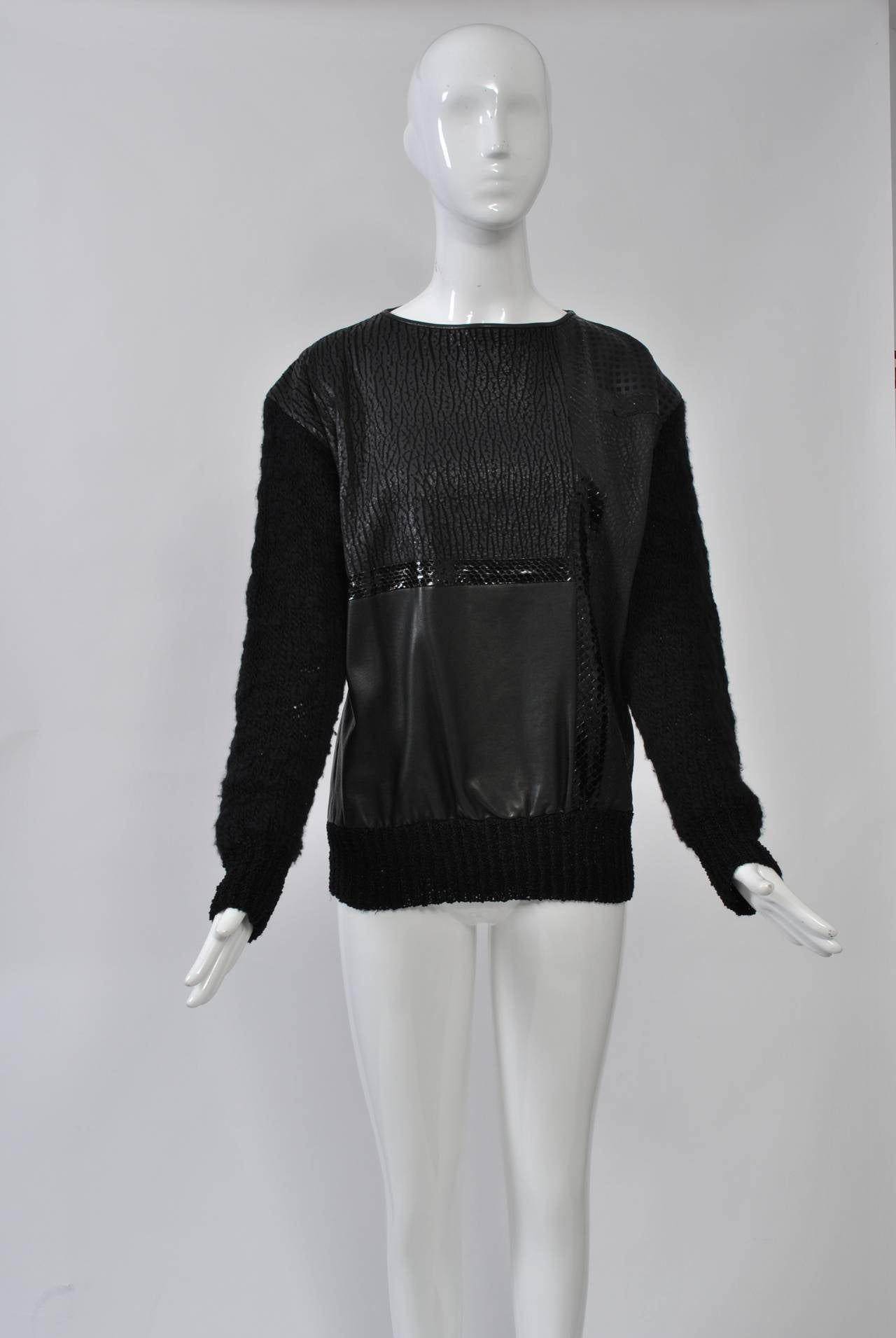 1980s Leather and Skin Patchwork Top 4