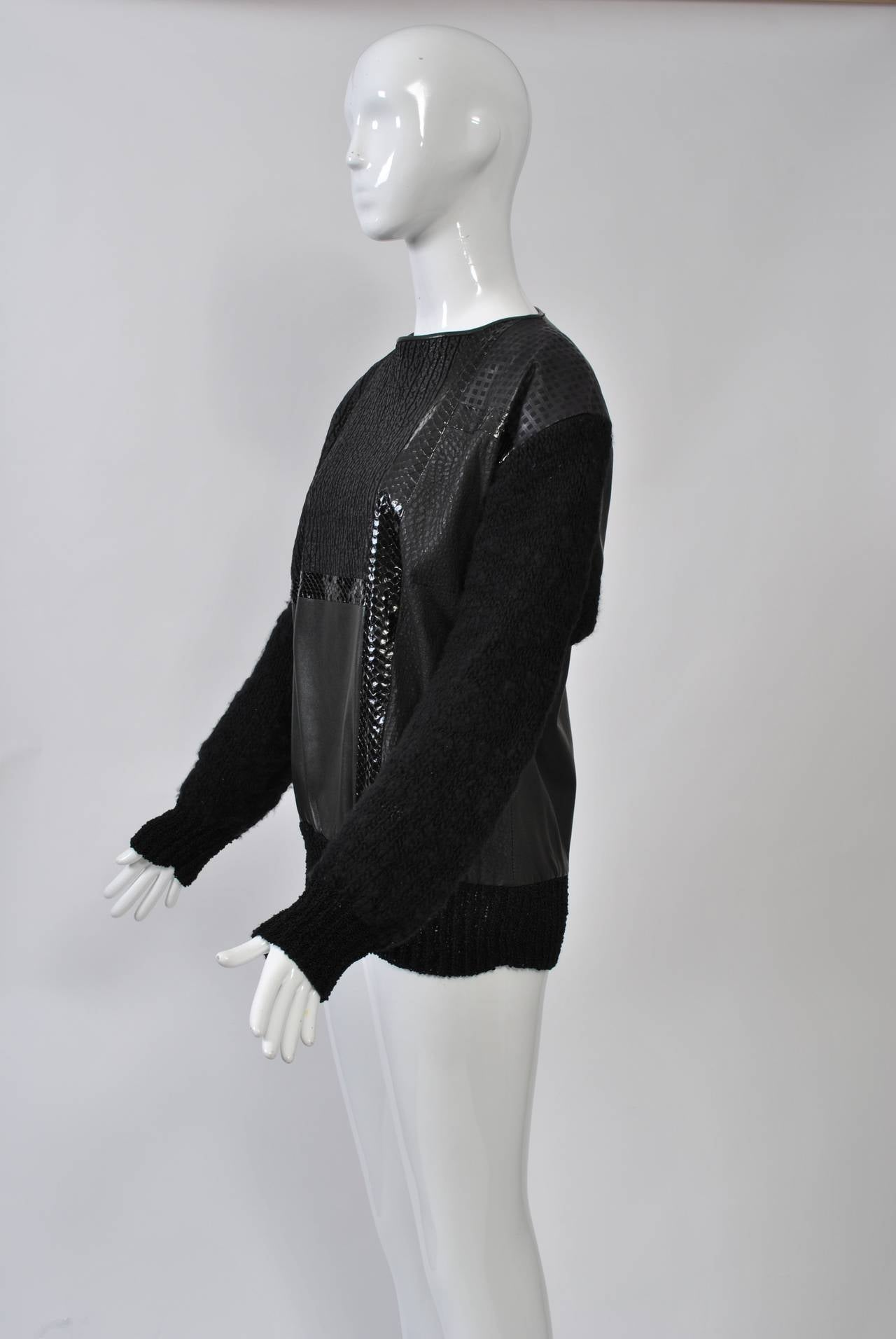 1980s Leather and Skin Patchwork Top 2