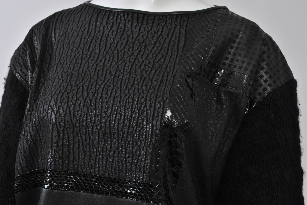 1980s Leather and Skin Patchwork Top 3