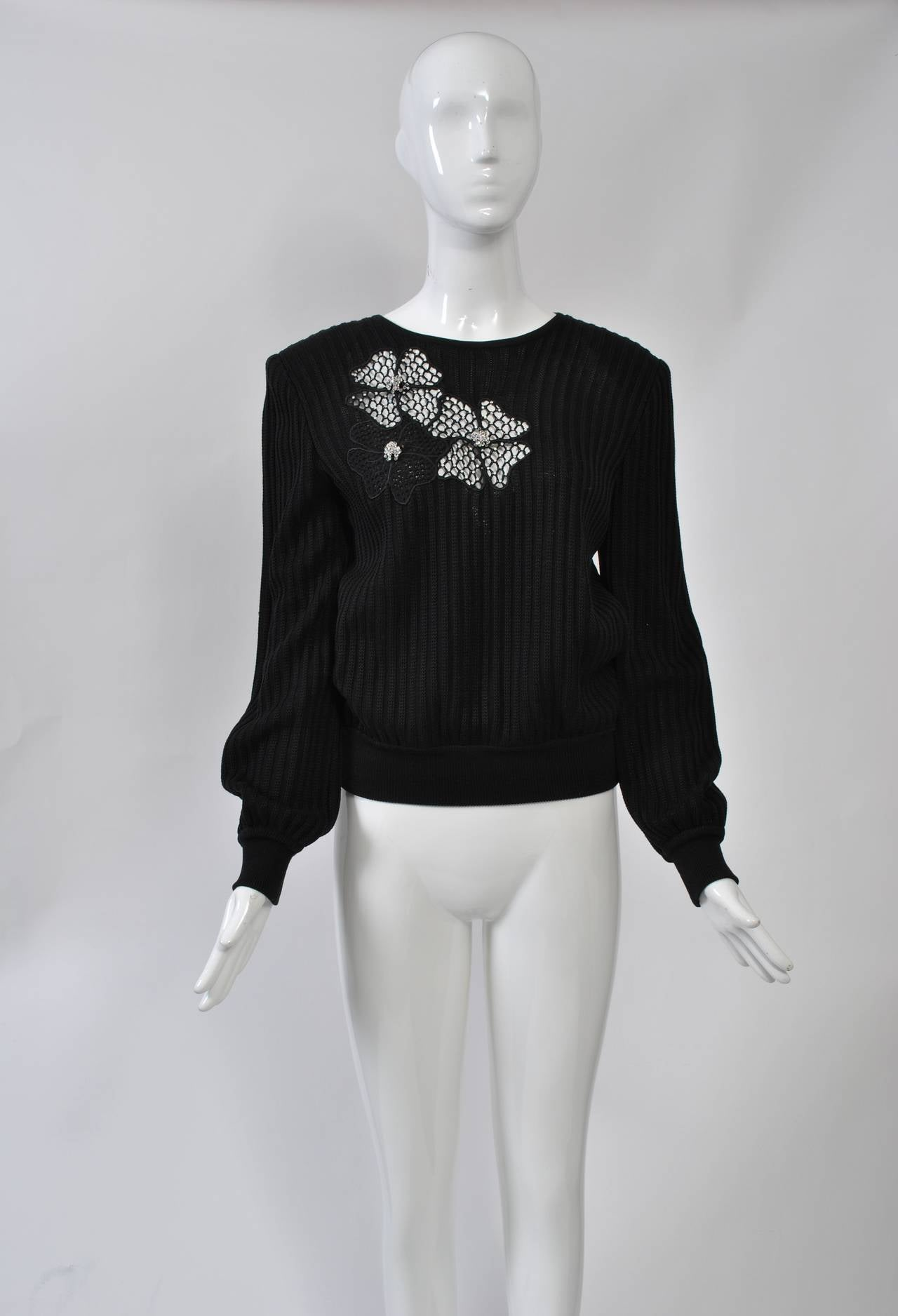 Valentino Black Sweater w/Flower Motif 2