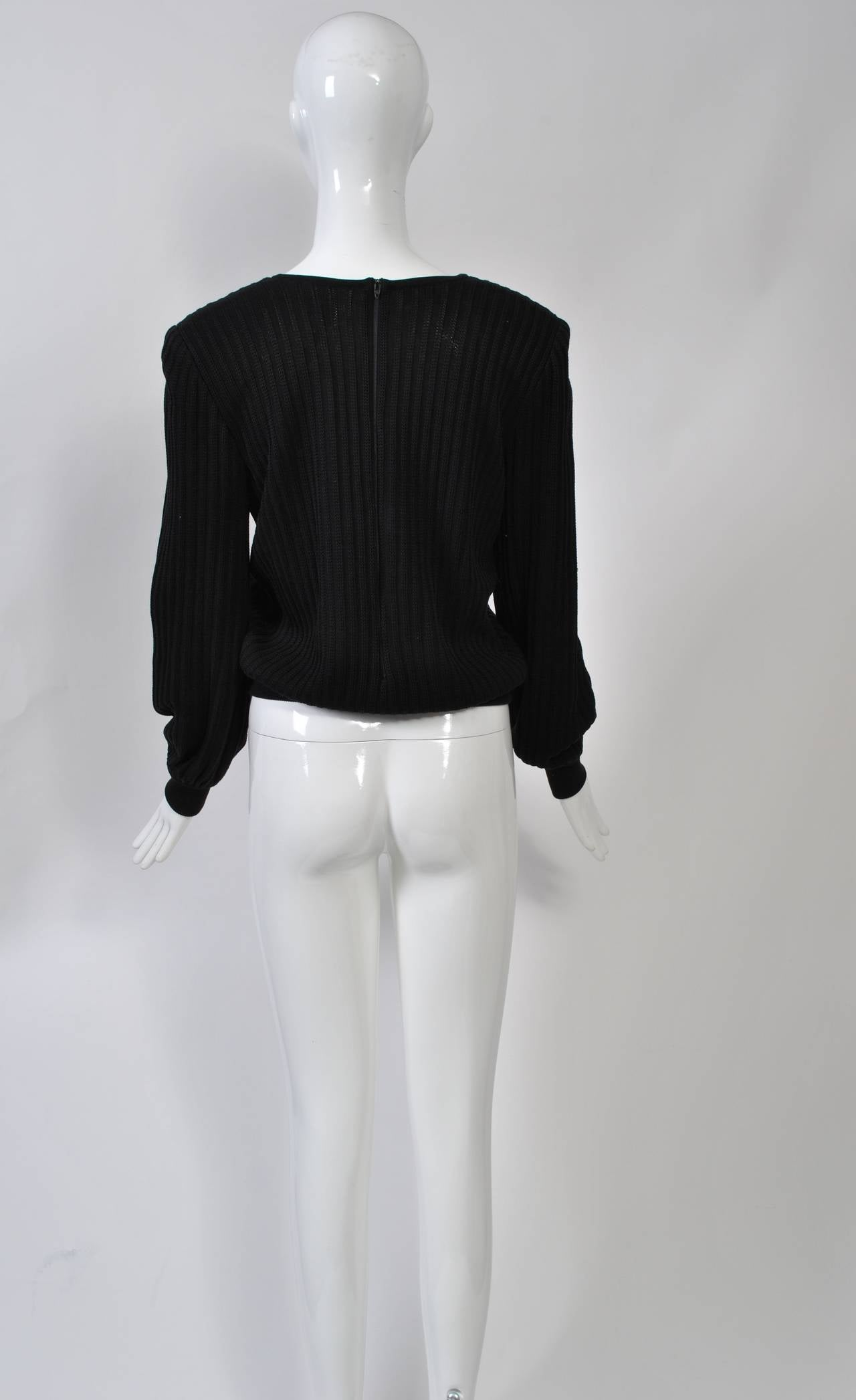 Valentino Black Sweater w/Flower Motif 3