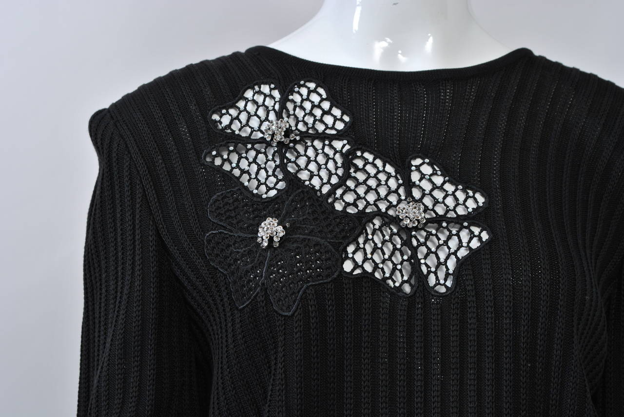 Valentino Black Sweater w/Flower Motif 5