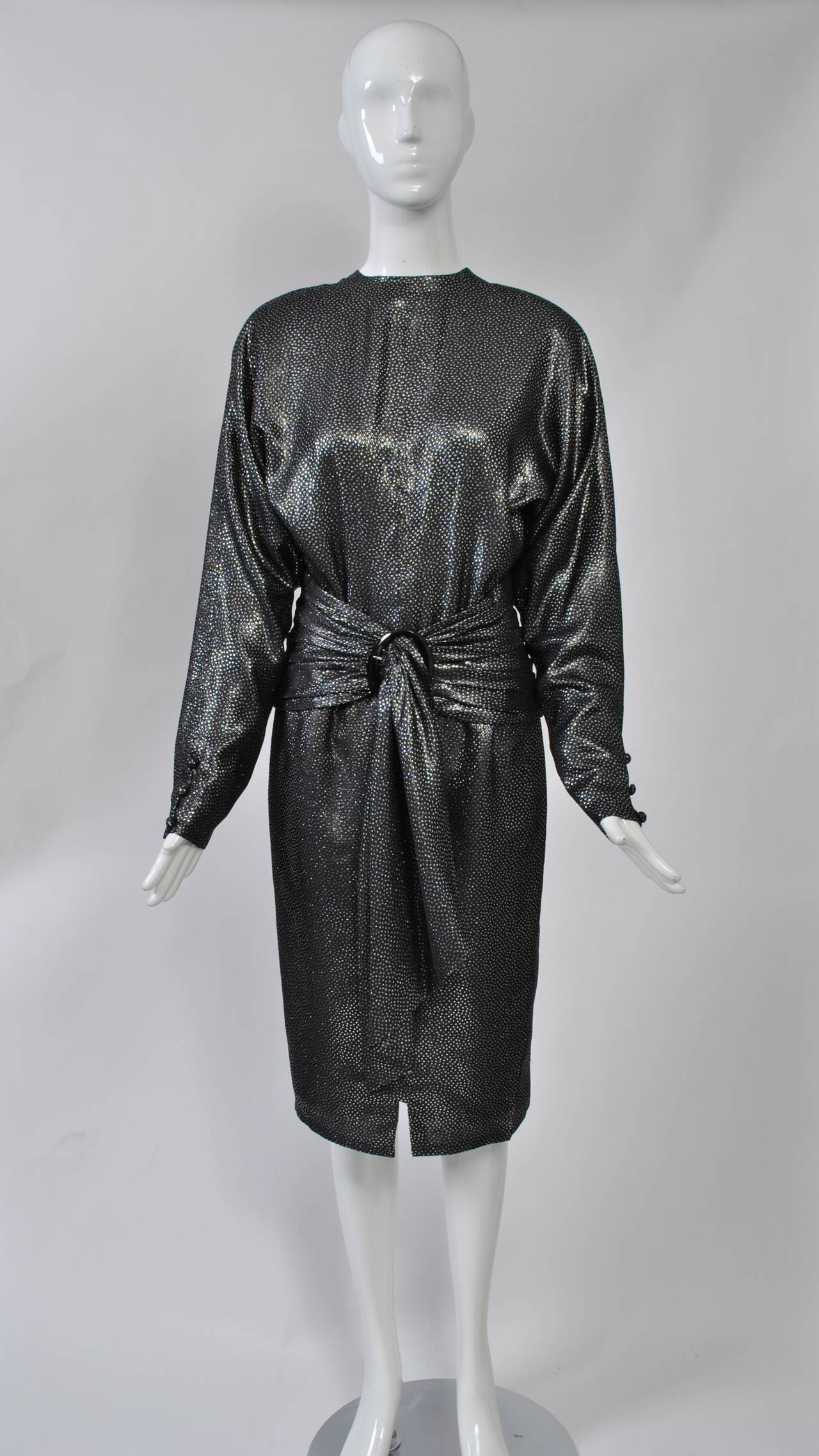 jean louis scherrer 1980s metallic dress for sale at 1stdibs. Black Bedroom Furniture Sets. Home Design Ideas