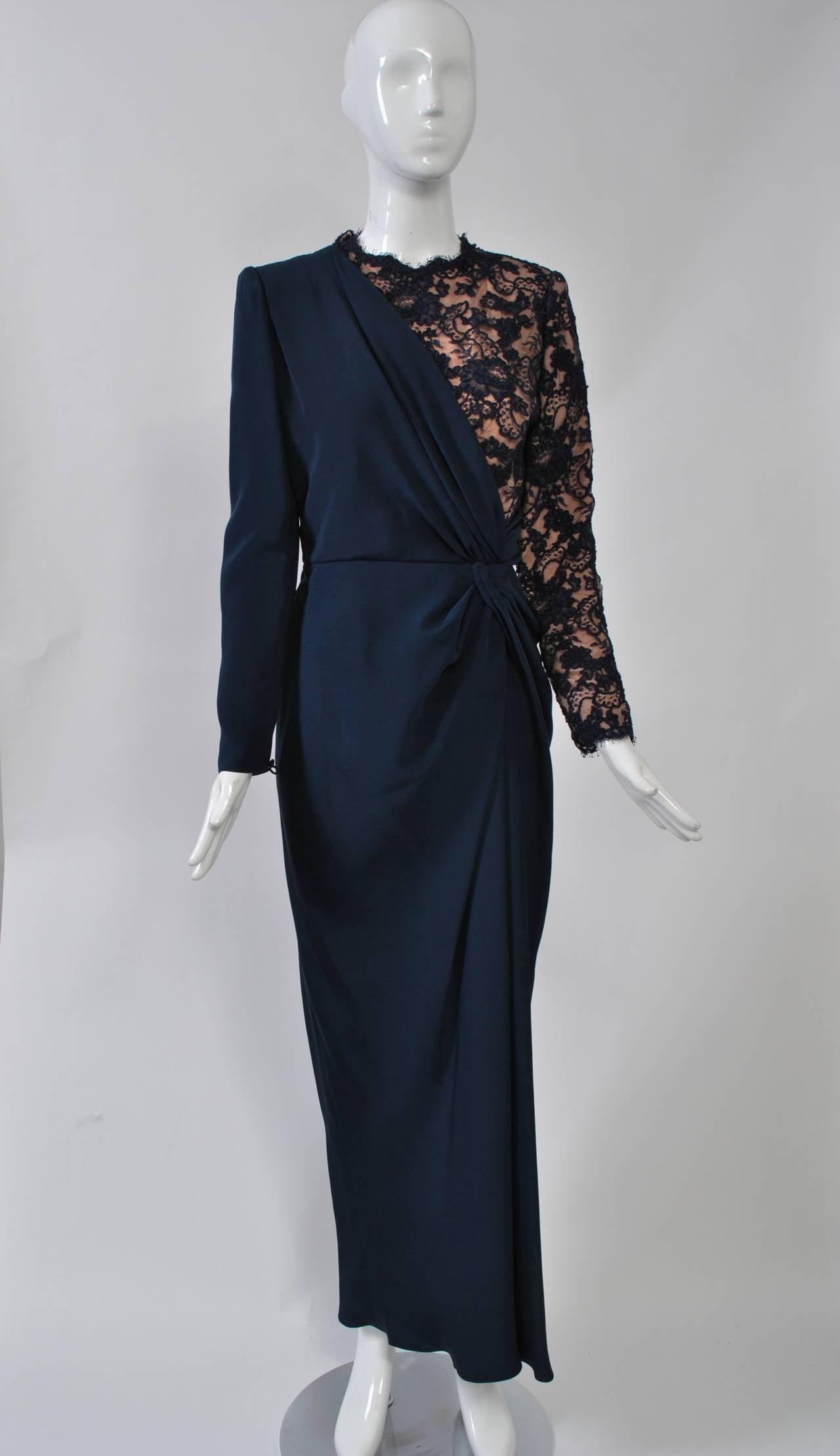 Carolina Herrera Navy Silk/Lace Gown at 1stdibs