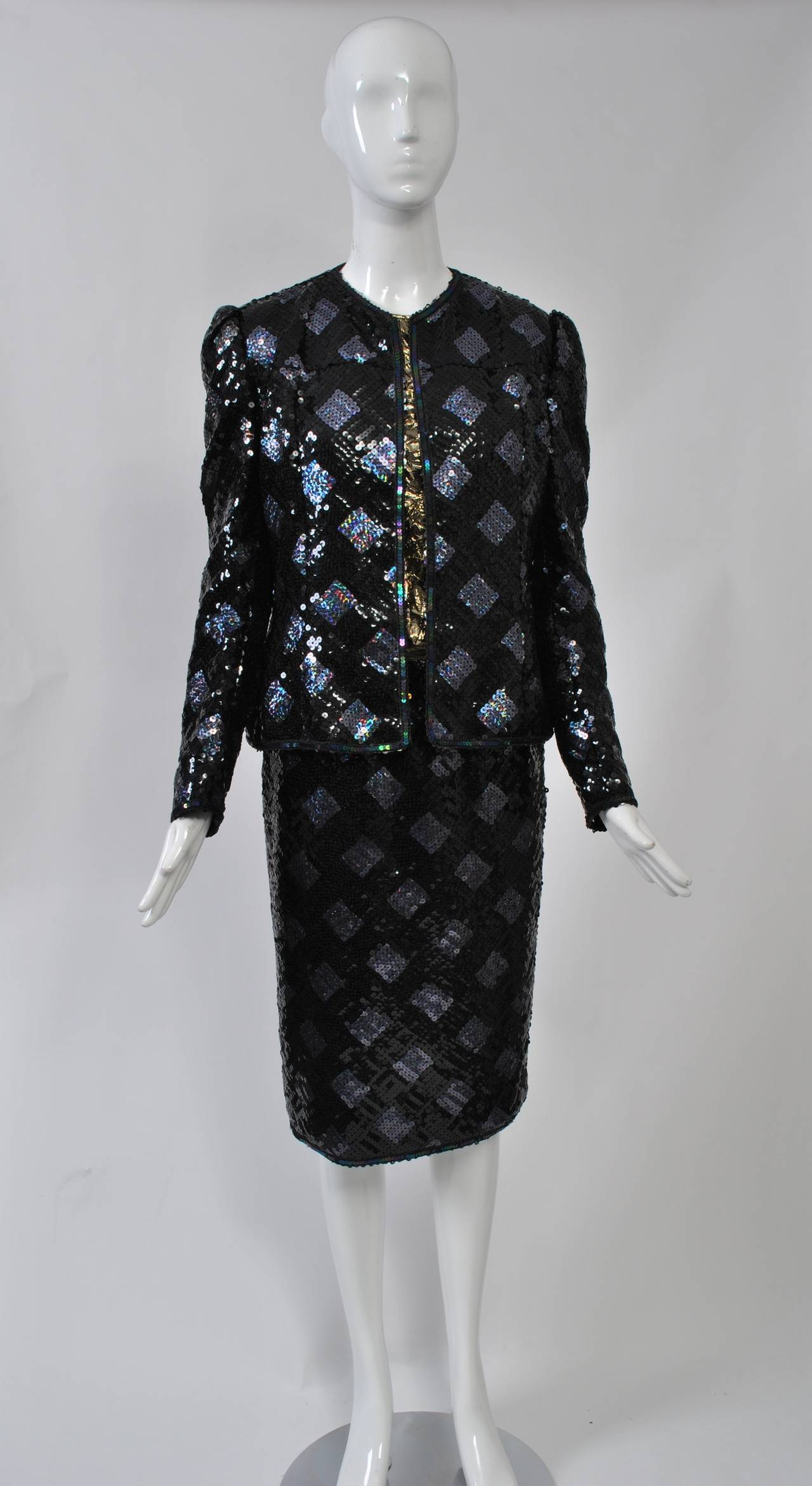 Black Adolfo Sequin and Lame Suit For Sale