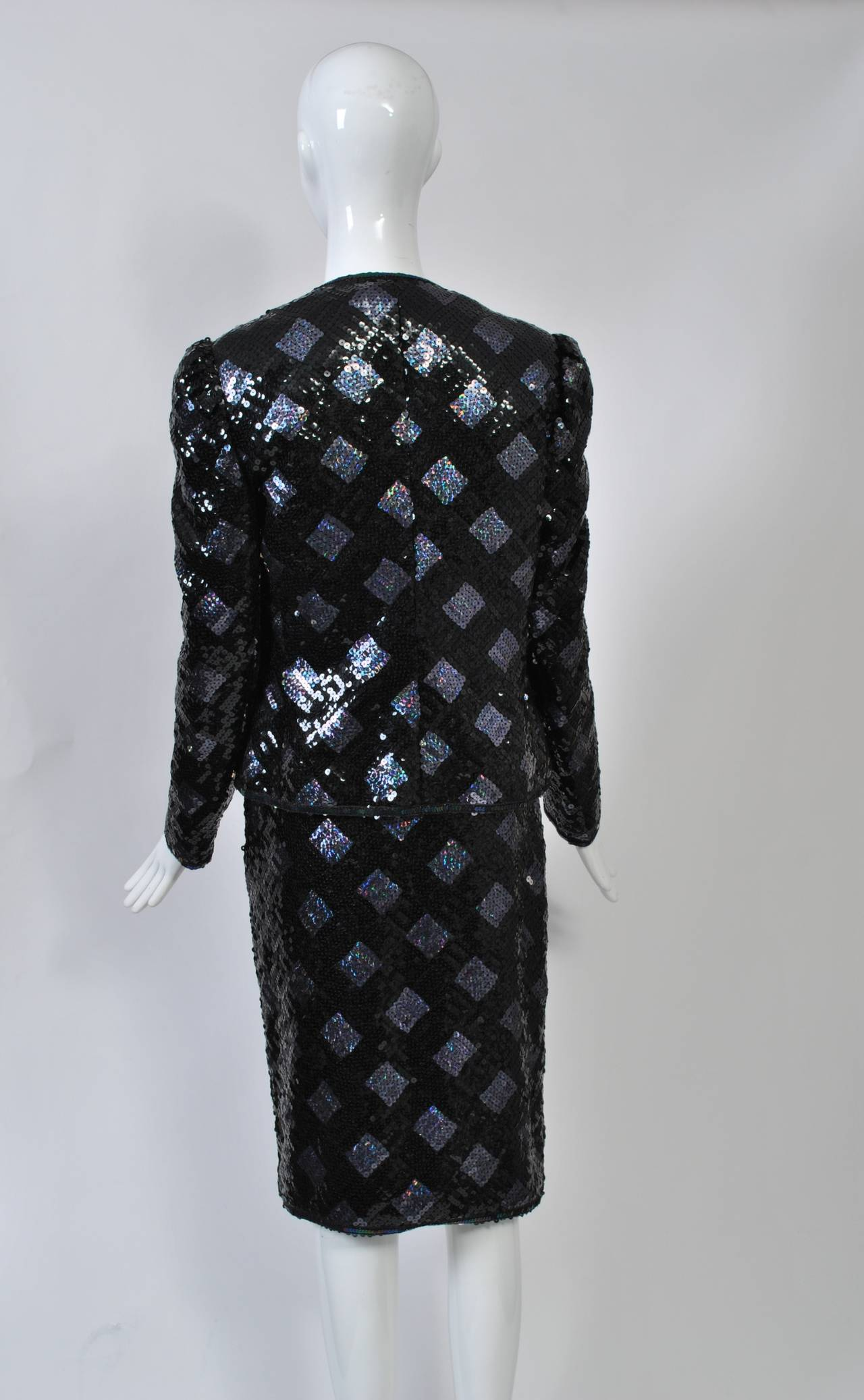 Adolfo Sequin and Lame Suit In Excellent Condition For Sale In Alford, MA