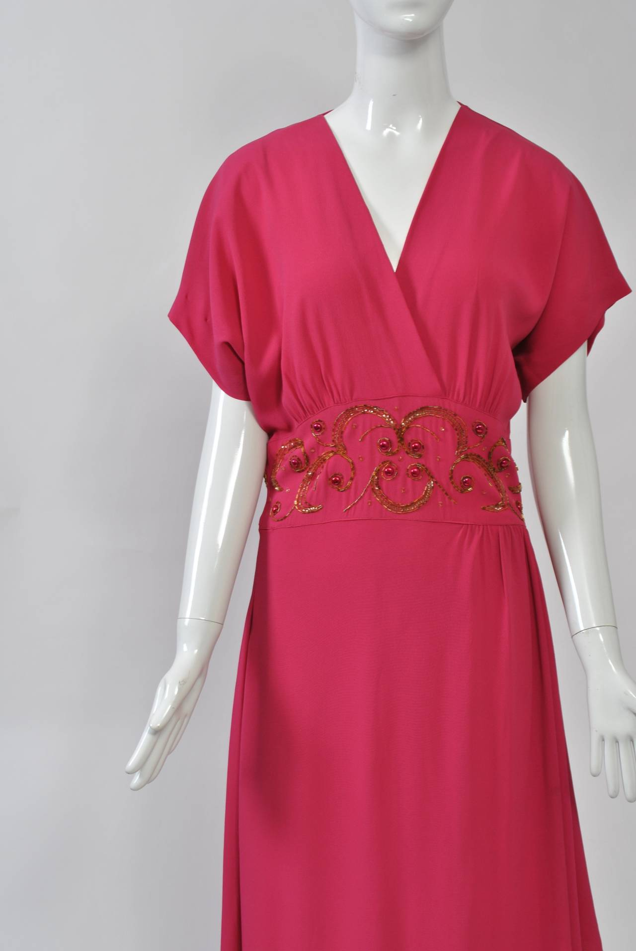 Red Emma Domb Rose 1940s Gown For Sale
