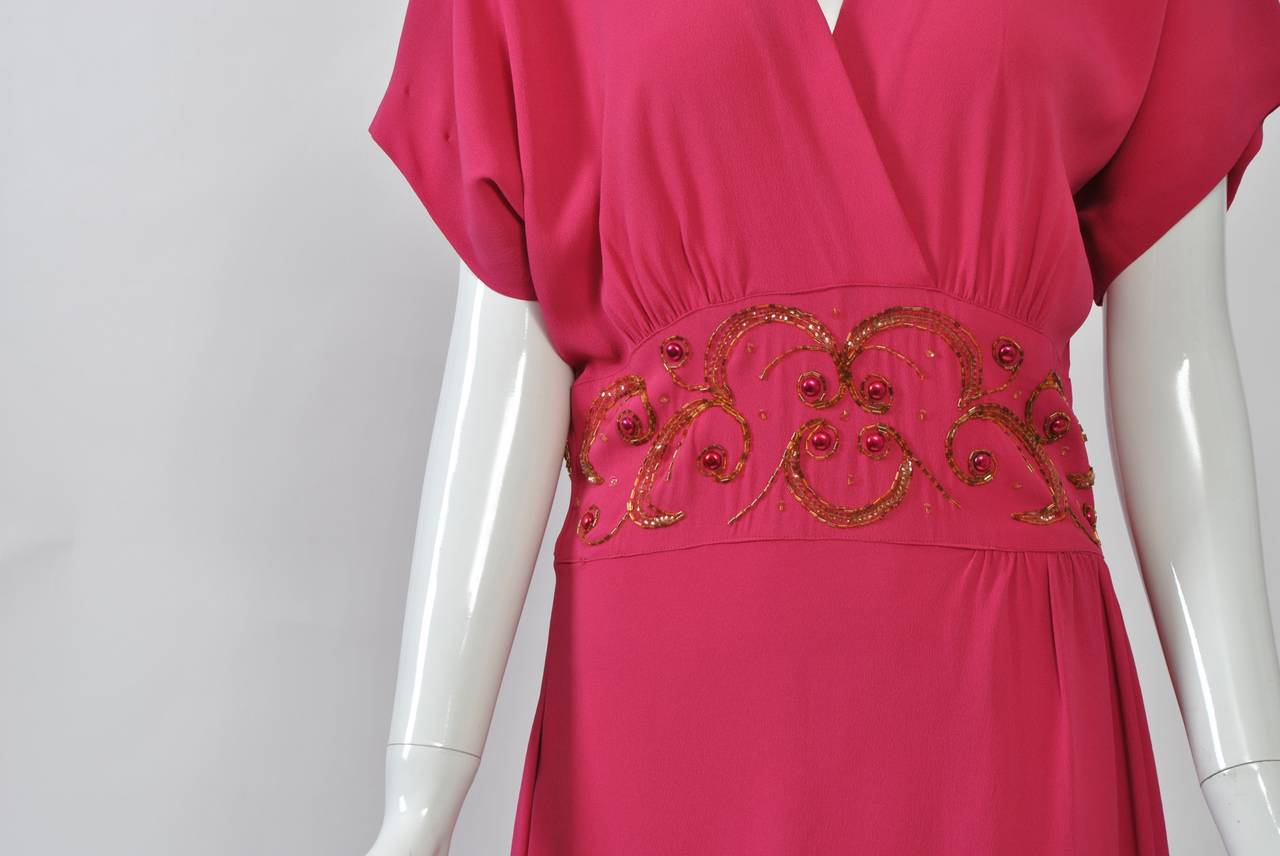 Women's Emma Domb Rose 1940s Gown For Sale