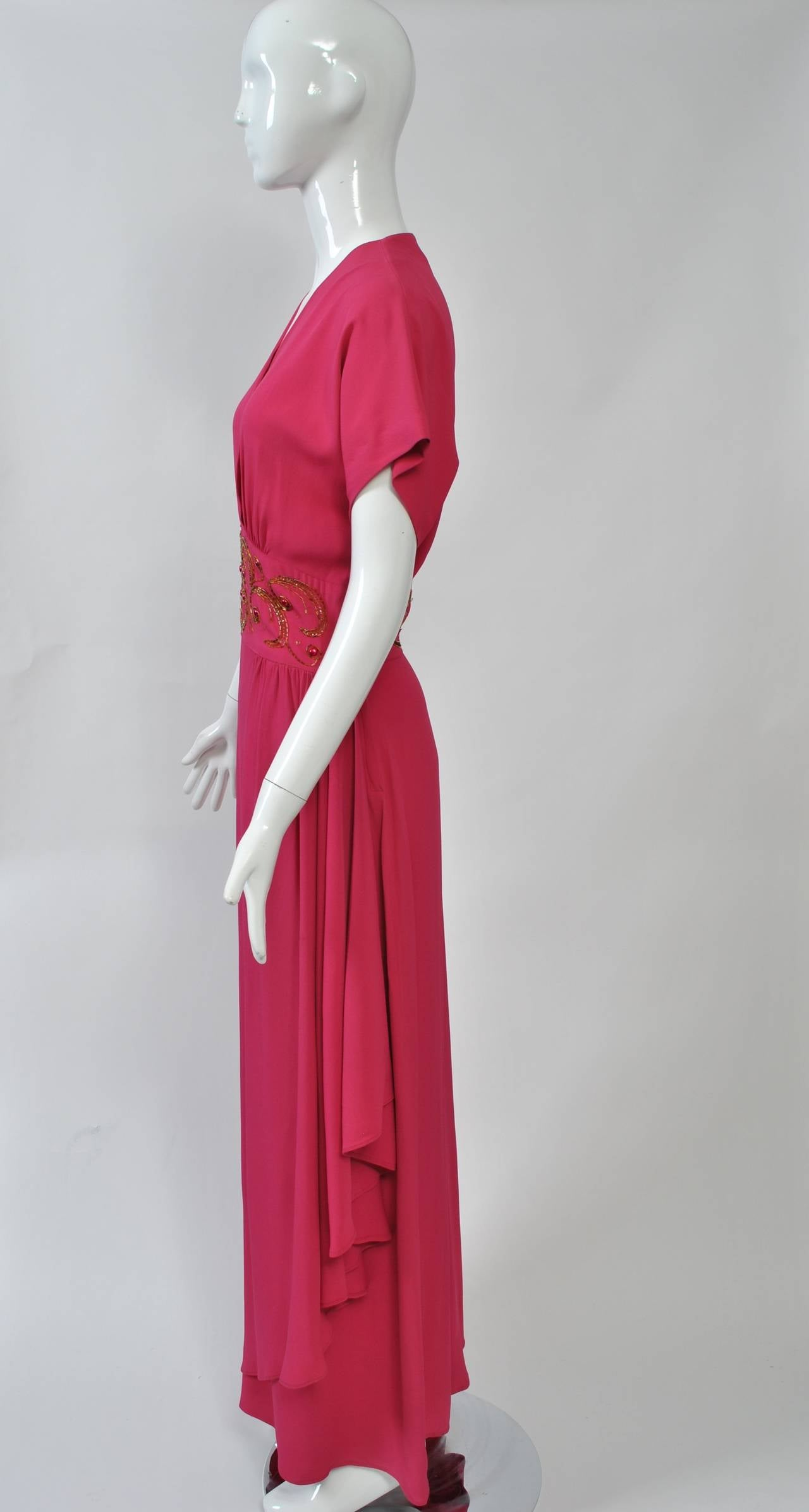 Emma Domb Rose 1940s Gown In Excellent Condition For Sale In Alford, MA