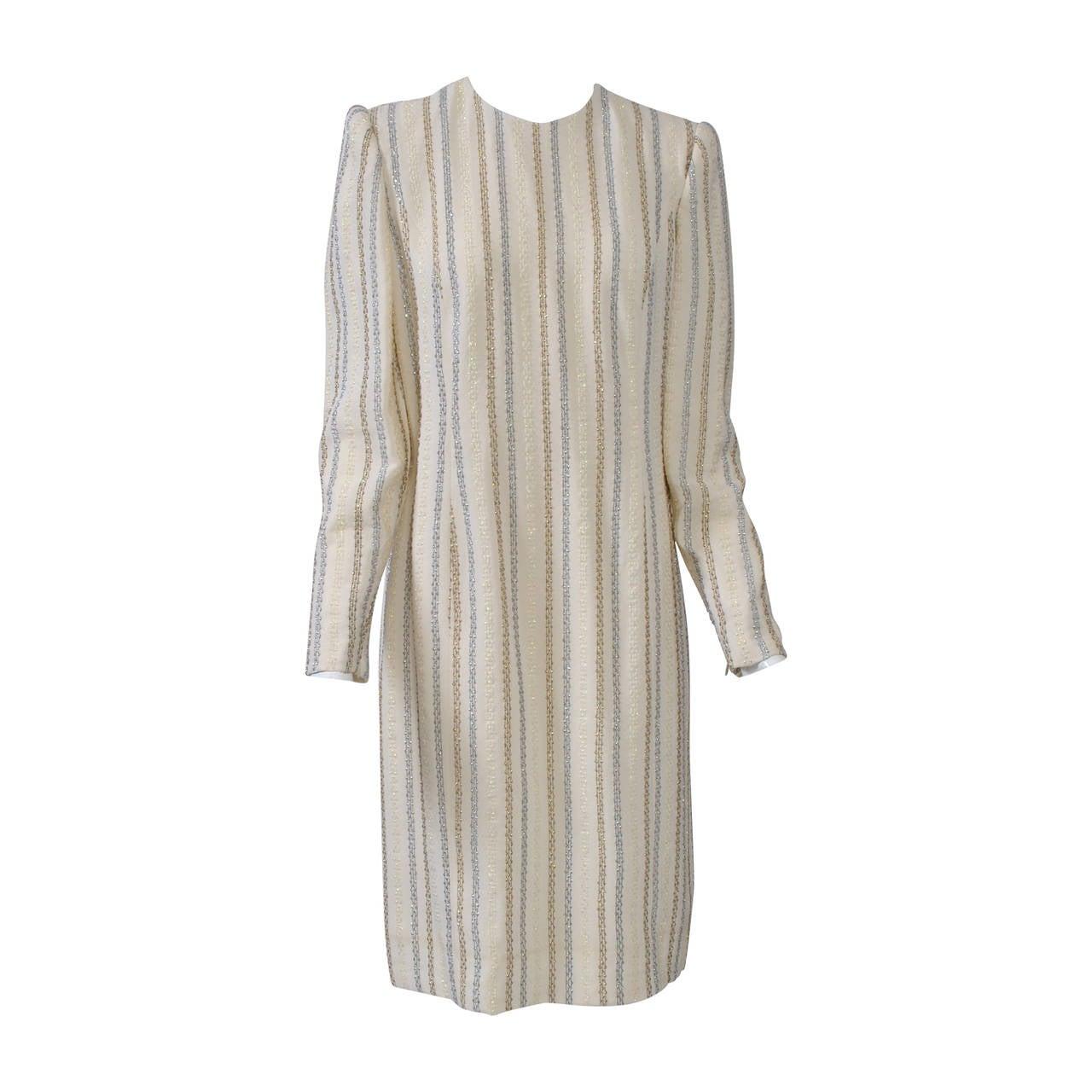 Carolina Herrera Ivory and Metallic Dress For Sale