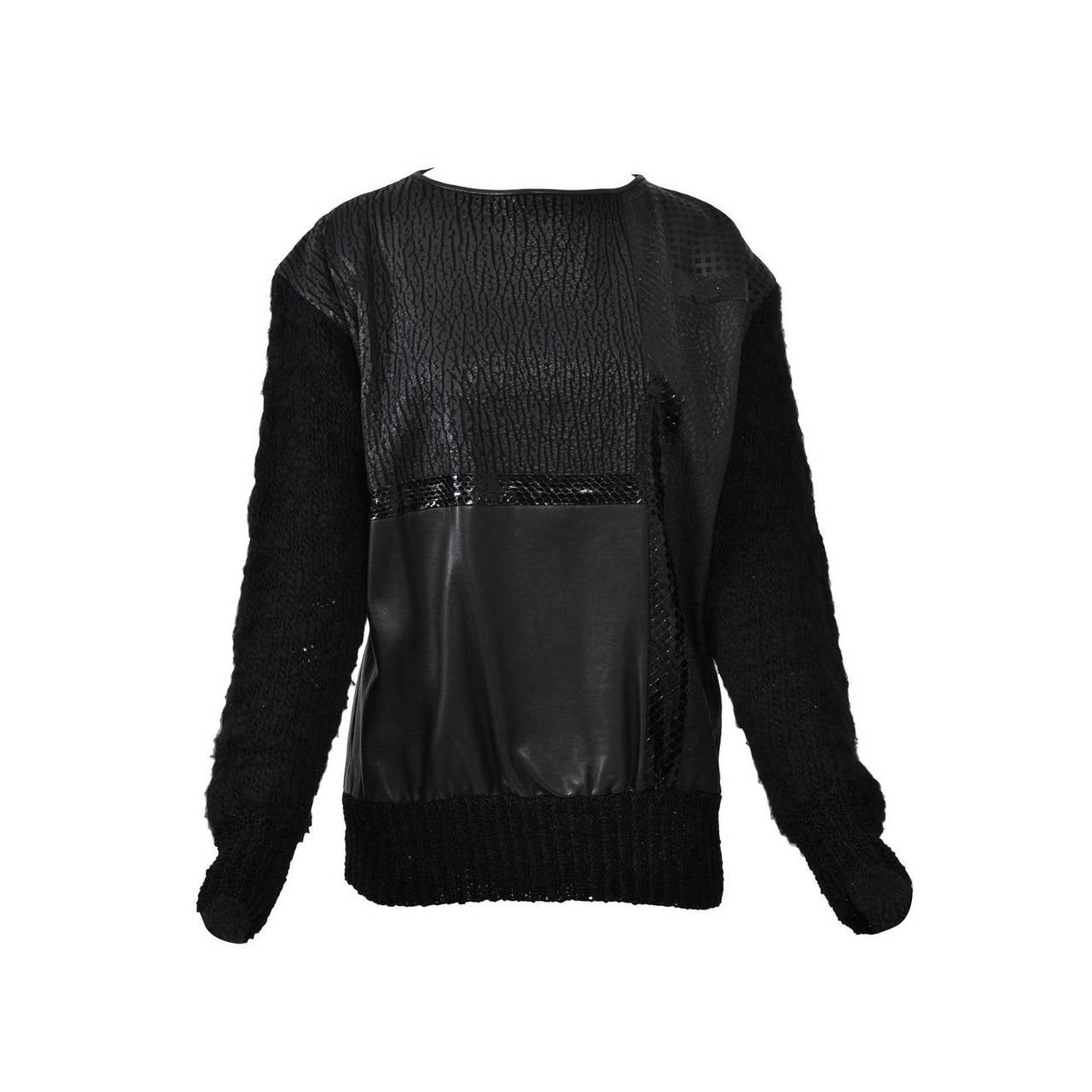1980s Leather and Skin Patchwork Top 1