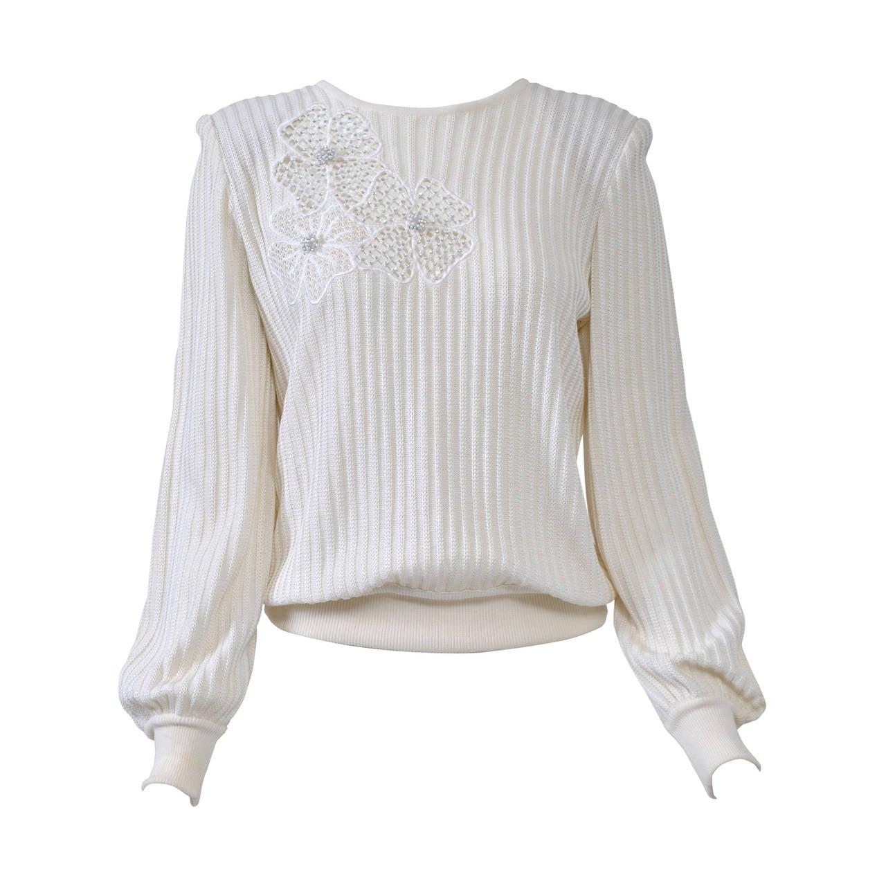 Valentino White Flower Motif Sweater