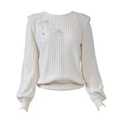 Valentino White Flower Motif Sweater