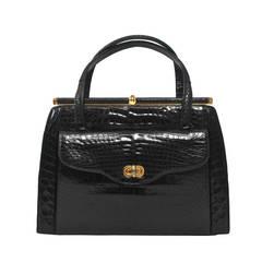 Elizabeth Arden 1960s Black Alligator Handbag