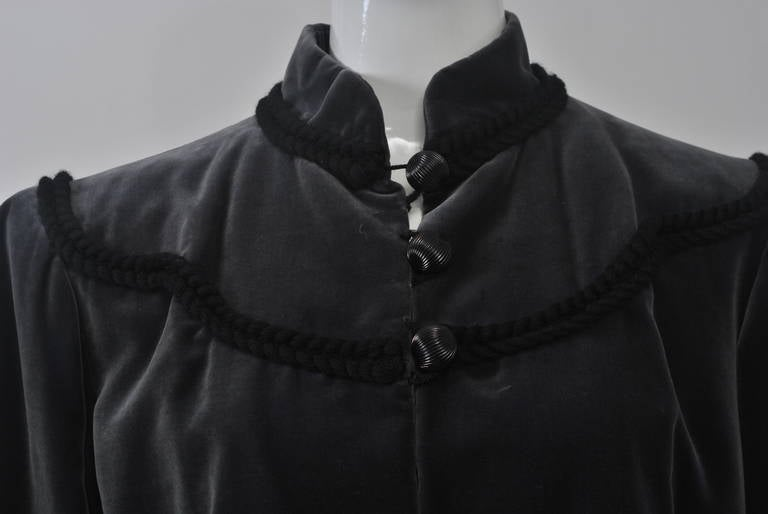 Black YSL Gray Velvet Jacket For Sale