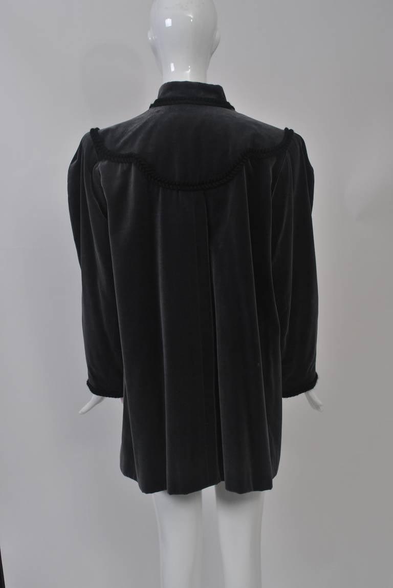 YSL Gray Velvet Jacket For Sale 1