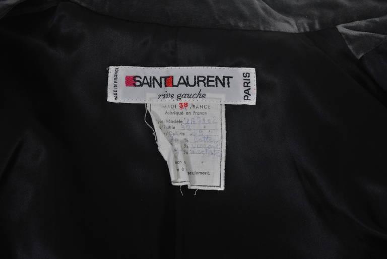 YSL Gray Velvet Jacket For Sale 3