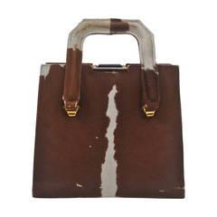 Cowhide Handbag with Bakelite Clasp