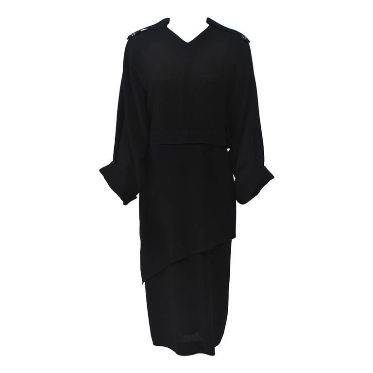 Jean Muir Black 1980s Dress