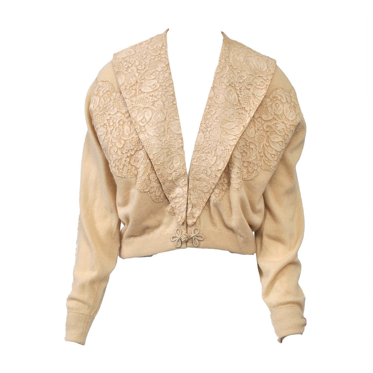 Beige Cashmere Cardigan with Lace For Sale at 1stdibs