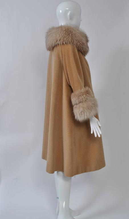 Lilli Ann Camel Swing Coat With Fox At 1stdibs
