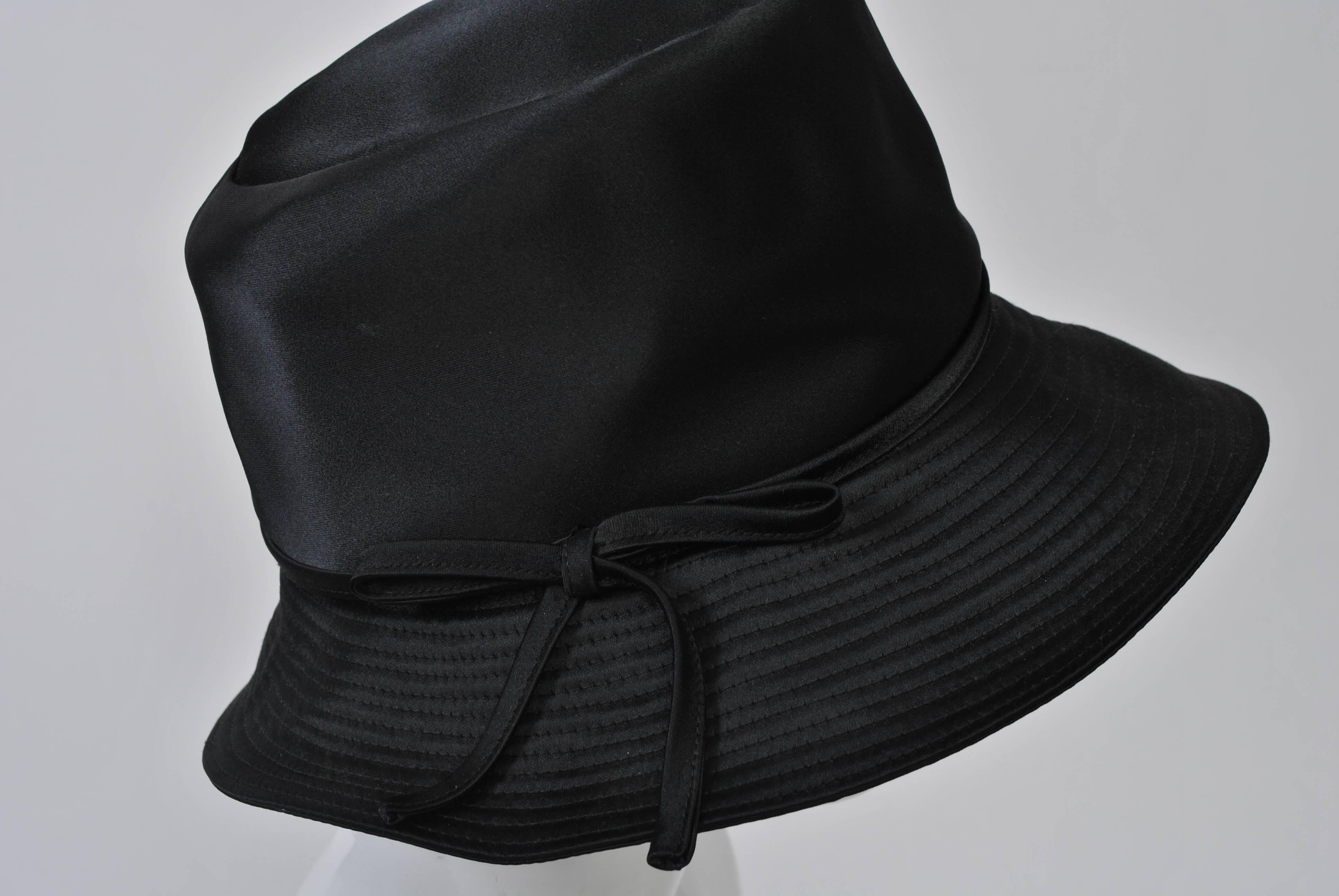 f81a700cfd9c7 Betmar Black Satin Hat For Sale at 1stdibs