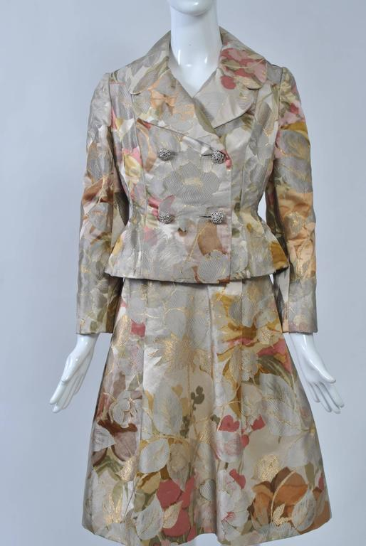 Brown Ronald Amey Brocade Ensemble For Sale