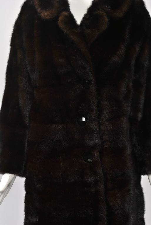 Horizontal Mahogany Mink Coat For Sale 1