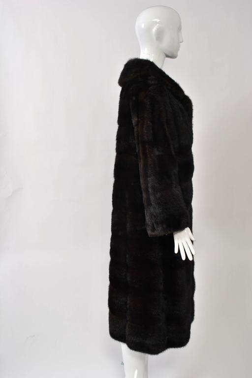Black Horizontal Mahogany Mink Coat For Sale