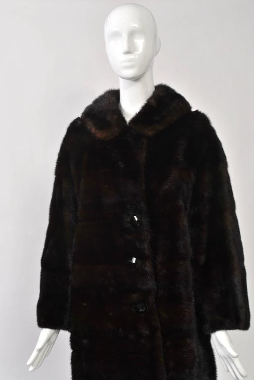 Women's Horizontal Mahogany Mink Coat For Sale