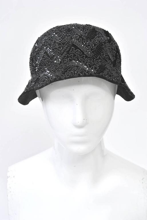 Bonwit Teller Black Beaded Hat In Excellent Condition For Sale In Alford, MA