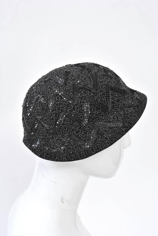 Women's Bonwit Teller Black Beaded Hat For Sale