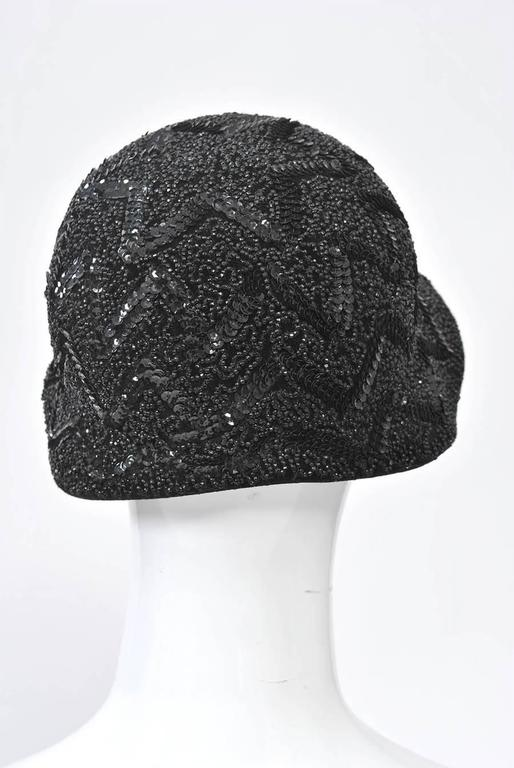 Bonwit Teller Black Beaded Hat For Sale 1