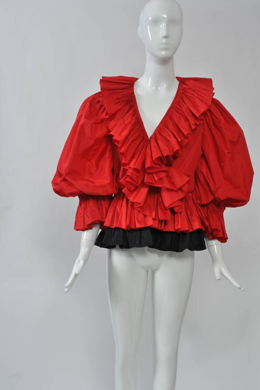 Red and Black Silk Ruffle Top 2