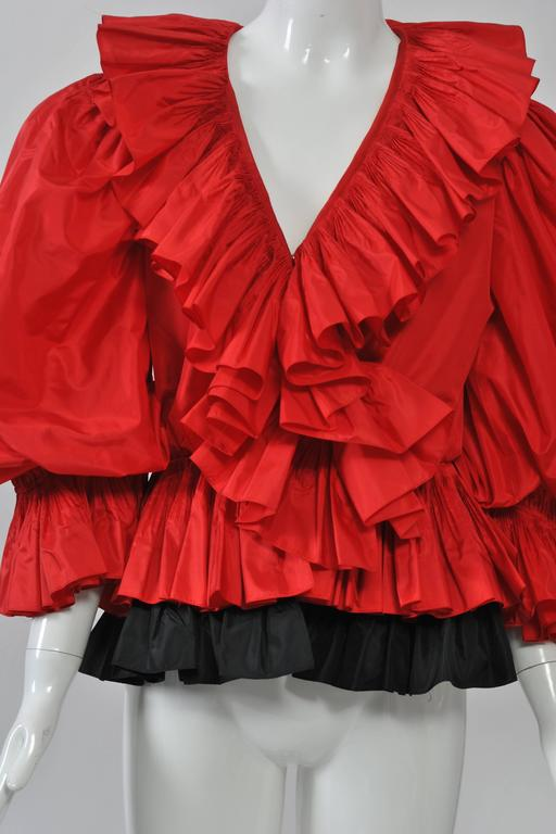 Red and Black Silk Ruffle Top 4